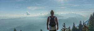 Male hiker on a hill
