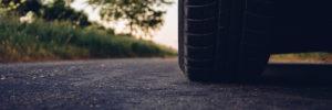 Car wheel on asphalt