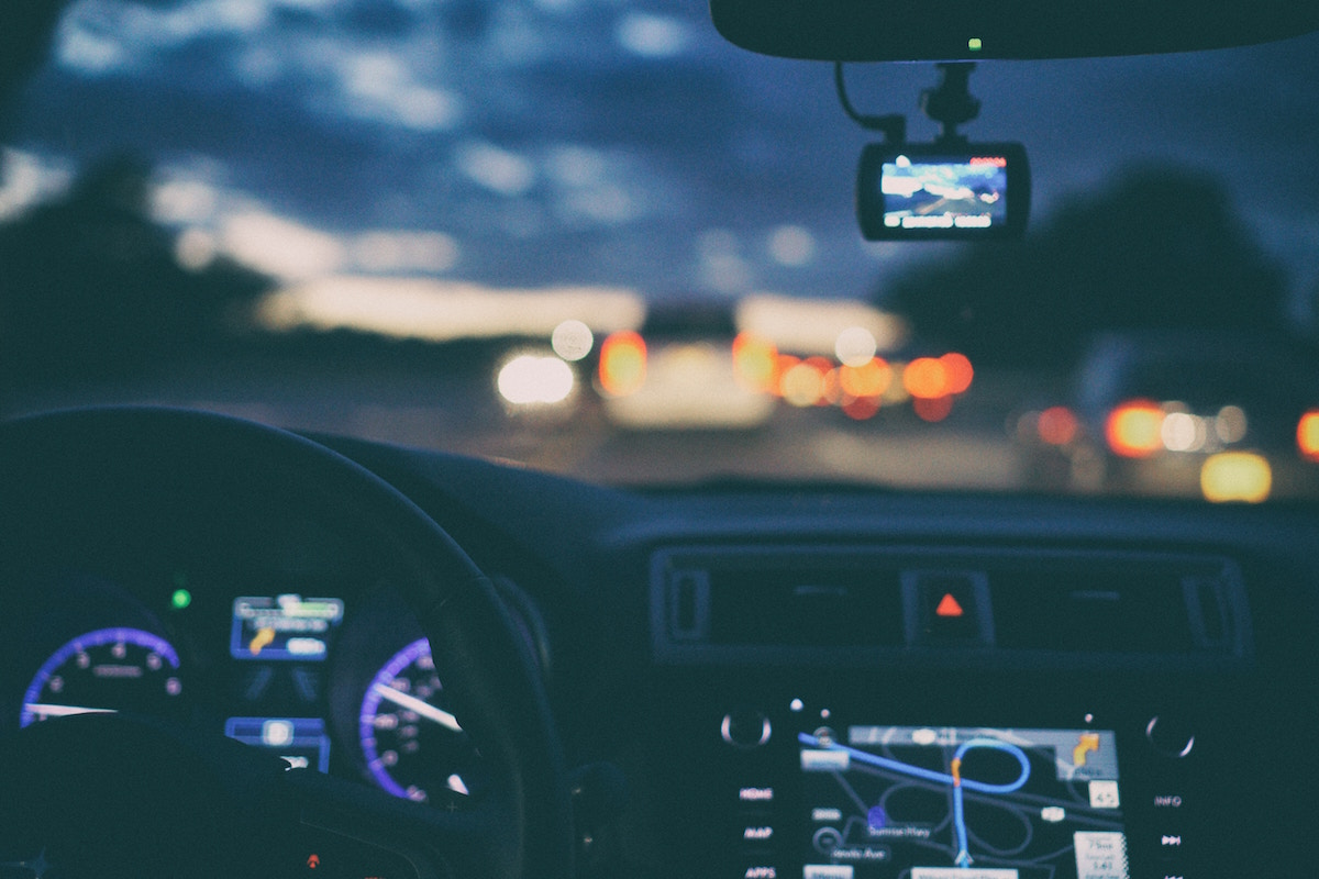 Car dashboard at night